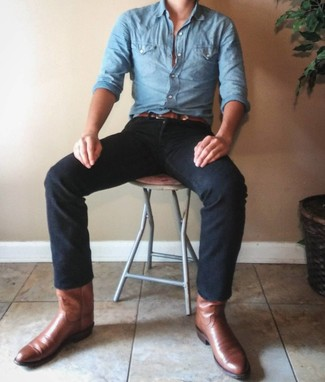 How to wear: brown leather belt, brown leather cowboy boots, black jeans, light blue chambray long sleeve shirt