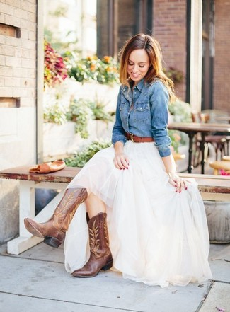 How to wear: brown leather belt, brown leather cowboy boots, white tulle maxi skirt, blue denim shirt
