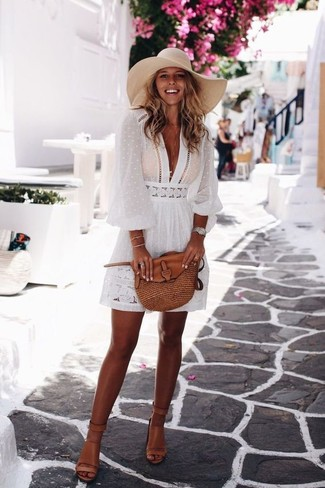 How to wear: silver watch, brown leather crossbody bag, tan leather heeled sandals, white peasant dress