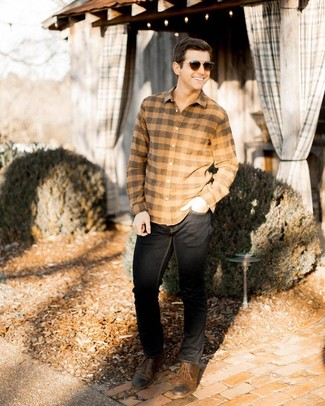 How to wear: dark brown sunglasses, brown leather derby shoes, black jeans, tan check flannel long sleeve shirt