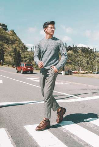 How to wear: black socks, brown leather derby shoes, grey wool chinos, grey crew-neck sweater