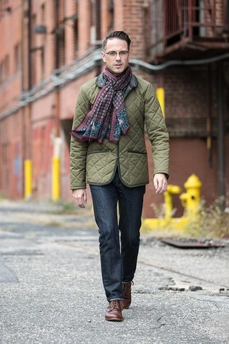 How to wear: burgundy print scarf, brown leather derby shoes, navy jeans, olive quilted field jacket
