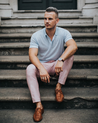 How to wear: dark brown leather watch, brown leather derby shoes, pink dress pants, grey polo