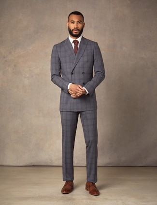 How to Wear a Burgundy Tie For Men: Opt for a charcoal plaid suit and a burgundy tie to ooze elegance and refinement. Bump up the fashion factor of this look by finishing with a pair of brown leather derby shoes.