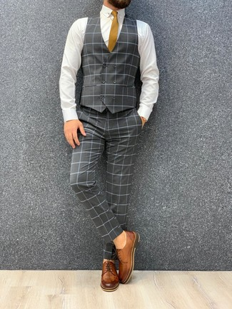 How to wear: mustard tie, brown leather derby shoes, white dress shirt, grey check three piece suit