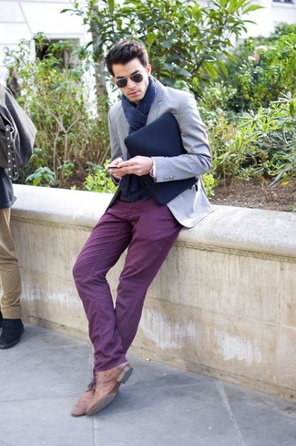 How to wear: navy knit scarf, brown leather desert boots, purple chinos, grey blazer