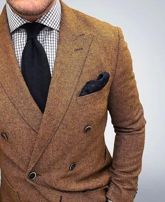 Men's Brown Wool Double Breasted Blazer, White Check Dress Shirt, Black Tie, Black Pocket Square