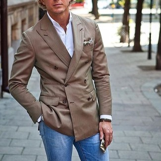 How to wear: brown double breasted blazer, white long sleeve shirt, blue jeans, beige print pocket square
