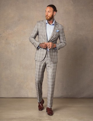 How to Wear a Light Blue Pocket Square: This off-duty combination of a beige plaid suit and a light blue pocket square is super easy to pull together without a second thought, helping you look stylish and ready for anything without spending a ton of time going through your wardrobe. To bring some extra flair to your look, complete this ensemble with brown leather double monks.