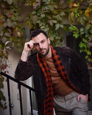 How to wear: red houndstooth scarf, brown check dress pants, tobacco crew-neck t-shirt, dark brown suede biker jacket