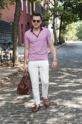 Men's Brown Leather Holdall, Brown Leather Driving Shoes, White Chinos, Pink Polo