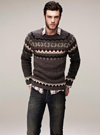 Men's Brown Fair Isle Crew-neck Sweater, Brown Plaid Long Sleeve Shirt, Charcoal Jeans