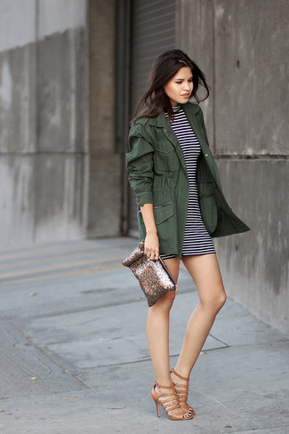 How to wear: gold sequin clutch, brown leather gladiator sandals, white and black horizontal striped bodycon dress, dark green fishtail parka