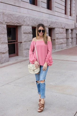 How to wear: white leather crossbody bag, brown leather heeled sandals, blue ripped skinny jeans, pink off shoulder top