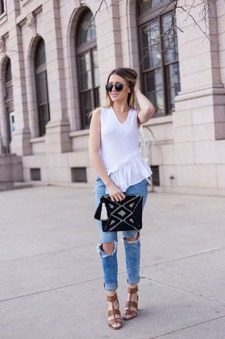 How to wear: black knit clutch, brown leather heeled sandals, blue ripped skinny jeans, white ruffle sleeveless top