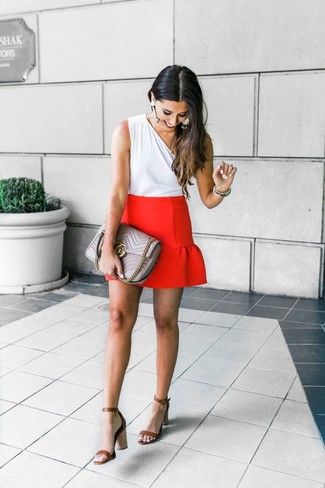 How to wear: grey quilted leather satchel bag, brown leather heeled sandals, red mini skirt, white sleeveless top