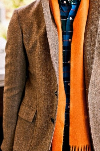 How to wear: brown herringbone blazer, navy plaid dress shirt, orange scarf