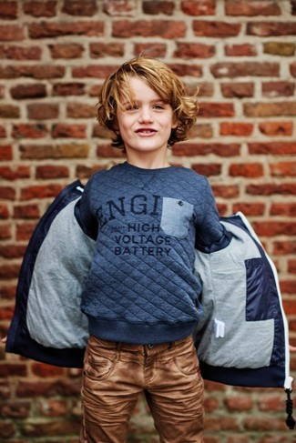 Boys' Looks & Outfits: What To Wear In Cold Weather: Reach for a navy parka and brown jeans for your little angel for a fun day out at the playground.