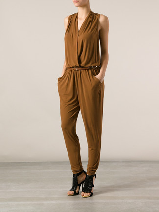 Women's Brown Jumpsuit, Black Sequin Heeled Sandals, Brown Leather Belt