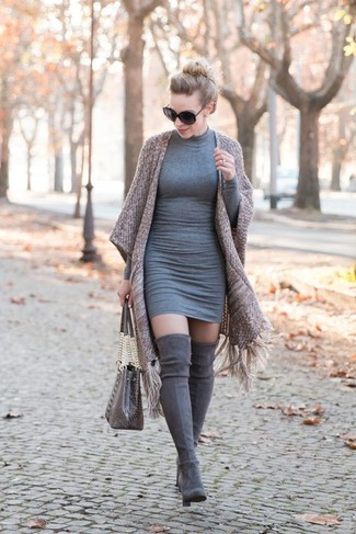How to wear: brown kimono, grey bodycon dress, grey suede over the knee boots, grey snake leather tote bag