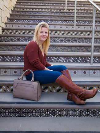 How to Wear a Grey Leather Tote Bag: Want to inject your wardrobe with some edgy style? Marry a burgundy v-neck sweater with a grey leather tote bag. A chic pair of brown leather knee high boots is an easy way to punch up this ensemble.