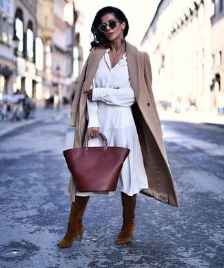 How to wear: burgundy leather tote bag, brown suede knee high boots, white shirtdress, camel coat