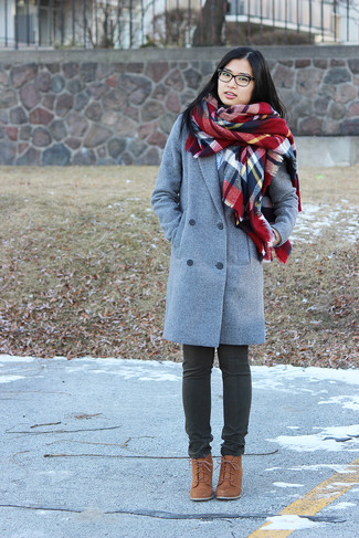 How to wear: red plaid scarf, brown suede lace-up ankle boots, charcoal jeans, grey coat