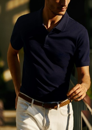 How to wear: brown woven leather belt, white jeans, navy polo