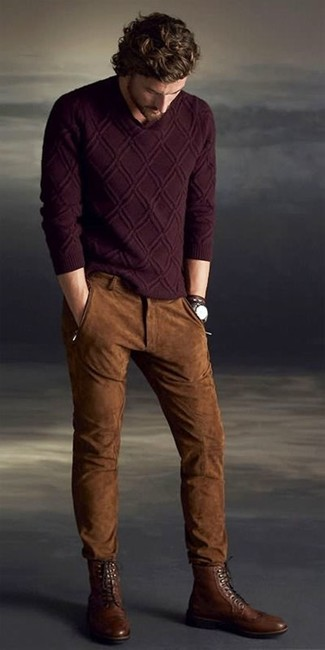 How to Wear Brown Leather Brogue Boots: Why not opt for a burgundy cable sweater and brown suede jeans? As well as super comfortable, both pieces look amazing when worn together. Complement this look with a pair of brown leather brogue boots to immediately turn up the fashion factor of any look.