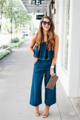7ef1cf78717 How to wear Vero Moda Petite Vero Moda Tall Halterneck 70s Denim Jumpsuit