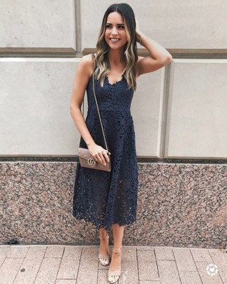 How to wear: brown leather crossbody bag, beige suede heeled sandals, black lace midi dress