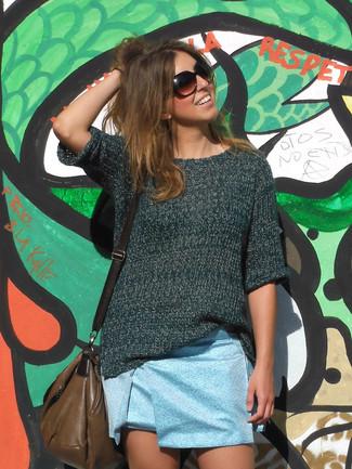 How to wear: brown leather crossbody bag, light blue mini skirt, dark green short sleeve sweater
