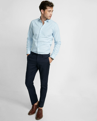 How to wear: brown leather derby shoes, navy chinos, light blue vertical striped long sleeve shirt