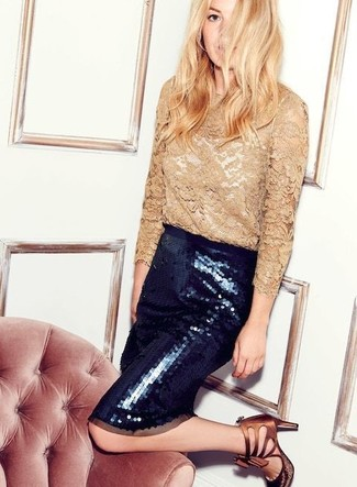 How to wear: brown leather heeled sandals, black embellished sequin pencil skirt, tan lace long sleeve t-shirt