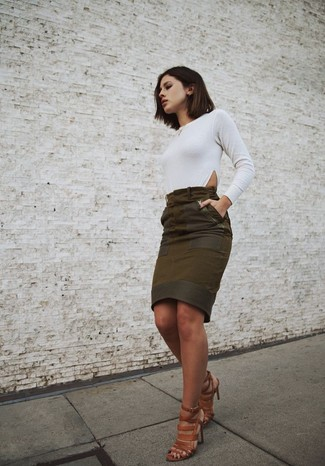 8a2c075b9 ... Women's Brown Leather Heeled Sandals, Olive Suede Pencil Skirt, White  Long Sleeve T-