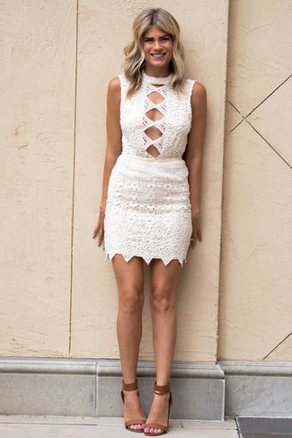 How to wear: brown leather heeled sandals, white crochet bodycon dress