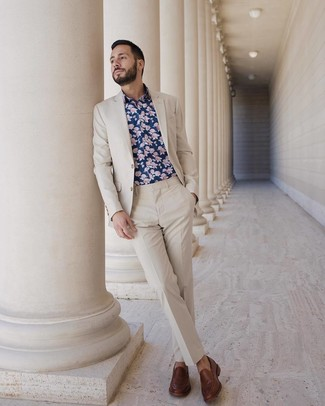 How to wear: brown leather loafers, navy floral long sleeve shirt, beige suit