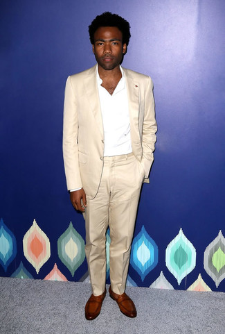How to wear: brown leather loafers, white long sleeve shirt, beige suit