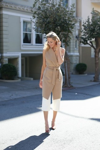 How to wear: brown leather pumps, white culottes, camel sleeveless coat