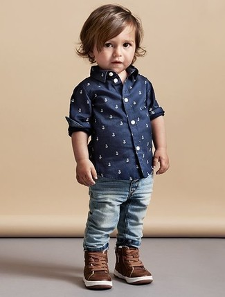 How to Wear Dark Brown Sneakers For Boys: Suggest that your darling go for a navy print long sleeve shirt and light blue jeans for a dapper casual get-up. This look is complemented really well with dark brown sneakers.