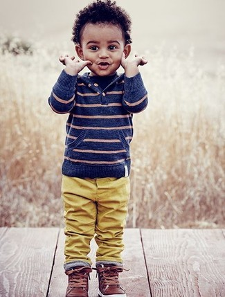 Boys' Looks & Outfits: What To Wear In 2020: Suggest that your child choose a blue horizontal striped hoodie and mustard trousers to create a neat, stylish look. Brown leather sneakers are a good choice to finish off this getup.