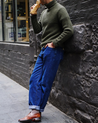 How to wear: beige socks, brown leather loafers, blue jeans, dark green knit turtleneck