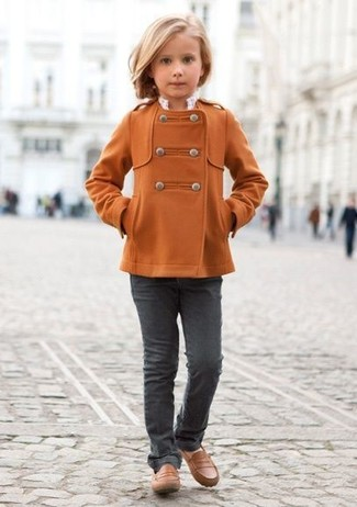 How to wear: brown loafers, charcoal jeans, orange coat