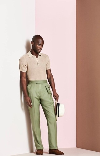 How to wear: white straw hat, brown leather loafers, olive dress pants, tan polo