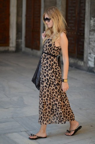 How to wear: brown leopard maxi dress, black thong sandals, black sunglasses, black and gold leather bracelet