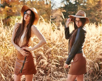 How to wear: khaki wool hat, brown leather mini skirt, white lace long sleeve t-shirt, black leather biker jacket