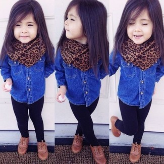 How to wear: brown scarf, brown oxford shoes, black leggings, blue denim long sleeve shirt