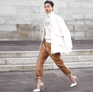 How to wear: white leather mules, brown leather pajama pants, white knit turtleneck, white wool bomber jacket