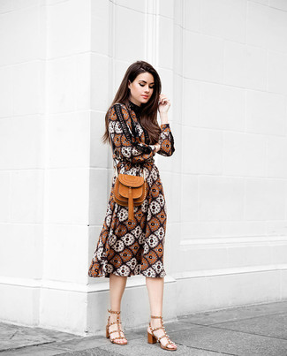 Women's Brown Print Midi Dress, Tobacco Leather Heeled Sandals, Tobacco Leather Crossbody Bag