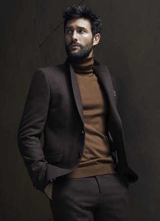 How to wear: brown print pocket square, brown turtleneck, dark brown wool suit